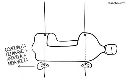 Dois furos devem ser feitos na região próxima às aberturas, superior e inferior